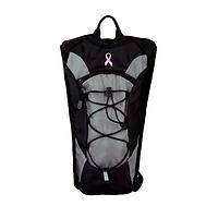 Packing Courage - Nylon Black Padded Backpack With Pink Ribbon Cancer Support
