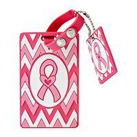 Pink Pizzazz - Pink Ribbon Chevron Luggage Tag With Matching Key Fob