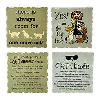 Clever Kitty - Humorous Cat Stone Coasters (Set of 4)