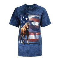 Spirit of American Wilderness - Patriotic Wild Horses and Eagle Preshrunk Cotton T-Shirt