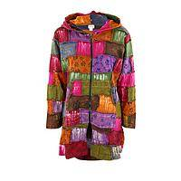 Color Explosion - Bright Patchwork Long Jacket With Accented With Paw Prints