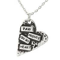 A Place In My Heart - Pewter Message of Love Paw Print Necklace