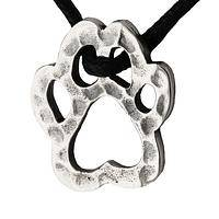 Compassion For Animals - Hammered Sterling Silver and Black Cord Paw Print Necklace