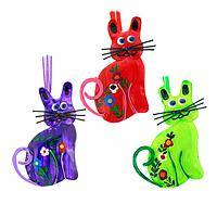 Here Kitty Kitty - Handmade Colorfully Painted Metal Kitten Ornaments