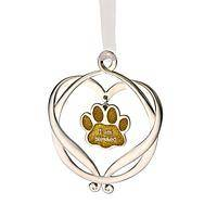 Animal Blessings - I Am Blessed Silvery Heart With Golden Paw Print Ornament