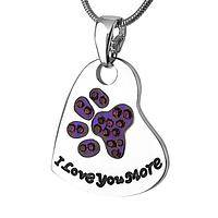Playful Paw Love - Crystal-Studded I Love You More Purple Paw Necklace