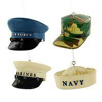 Rally 'Round - Polystone Painted Military-Themed Hat Holiday Ornament