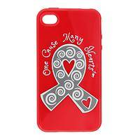 Vibrant Pledge  - Acrylic Diabetes Awareness Ribbon Red iPhone Cover