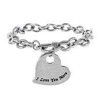 Show Your Love - Silver cable chain adorned with an I LOVE you more charm
