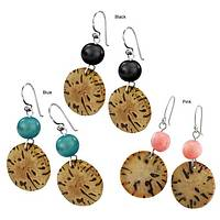 Dynamic Dancers - Handmade Jupati & Acai Earrings in Blue, Black, or Pink