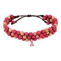 Array of Hope - Chirilla Seed Beads and Carved Tagua Pink Ribbon Bracelet