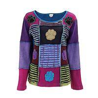 Patchwork Pals - Jewel-Tone Patchwork Paw Handmade Long Sleeve Top