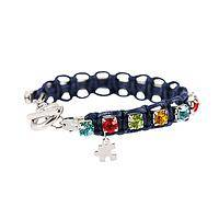 Bejeweled Puzzle - Rainbow Bling Puzzle Piece Charm Cord Bracelet