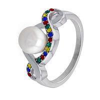Colors of Compassion - Sterling & Pearl Autism Awareness Multicolor Ribbon Ring