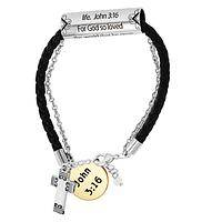 A Moment of Gratitude  - Silver and Gold-Tone John 3:16 Corded Bracelet