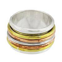 Seven Metallic Bands - A Seven Band Set Of Copper Silver And Gold Toned Brass
