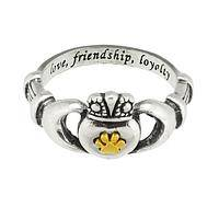 Claddagh Paw - Love, Friendship, Loyalty Sterling Ring Featuring Paw Print