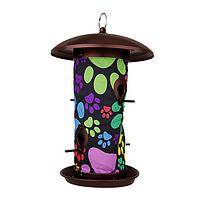 Pawfect Bird Feeder - Brightly colored paw prints accent this hanging bird feeder