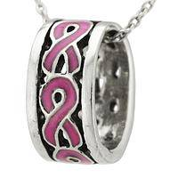 Ribbons of Love - Pewter and Rhinestone Pendant Necklace
