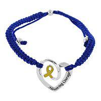Honoring Courage - Yellow Ribbon Heart Parachute Cord Bracelet