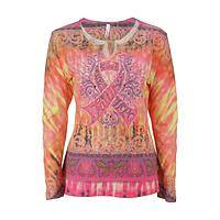 Pretty in Pink Ribbon - Women's Rhinestone Pink Ribbon Campaign Longsleeve Shirt