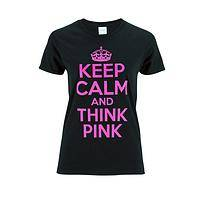 Cozy Thoughts - Long-Sleeve Cotton T-Shirt Proclaims Keep Calm & Think Pink