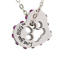 Big and Bright - Silver heart shape necklace with paw shows love for pets