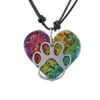 Brilliant Melody - Stunning Gemstone Paw Print Heart Necklace Sings With Love