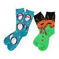 Funny Critters - Fun Decorative Penguin or Reindeer Holiday Socks