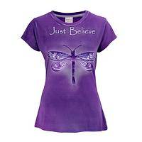 Believe in Beauty - Deep Purple Just Believe Dragonfly Inspiration Tee Shirt