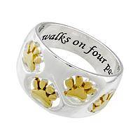 Deep Hearts of Love - Love Walks on Four Paws Sterling & Gold Tone Band Ring