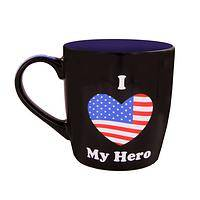 I Love My American Hero - Patriotic American Flag Heart 16 Ounce Porcelain Mug