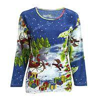 Special Delivery - Festive Snowman with Sleigh Beaded Cotton 3/4-Sleeve Top