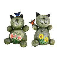Cheerful Greetings - Handmade Garden Welcoming Cat Statue