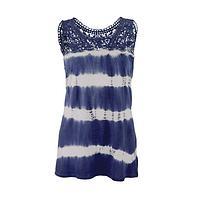 Lavished With Lace - Tie-Dye Stripe and Lace Yoke Cotton Tunic