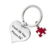 Pieces Matter - Silver Tone, Multicolored Puzzle Piece Heart Autism Keychain
