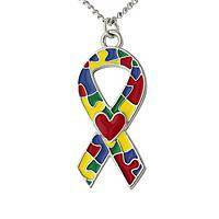All in This Together - Silver Colorful Puzzle Necklace for Autism Awareness
