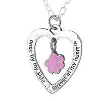 Together Forever - Pet Remembrance Necklace with Purple Paw Charm