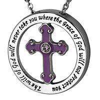 Cross of Protection - Grace of God Crystal and Metal Cross Protection Necklace