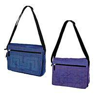 Messenger Memory - Handmade recycled blue or purple adjustable messenger bag
