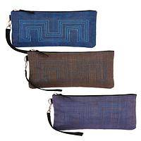 Greek Key  - Eco-Friendly Recycled Netting and Nylon Wristlet