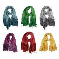Silky Dream - Beautifully Colored Cotton and Silk Ripple Effect Scarf