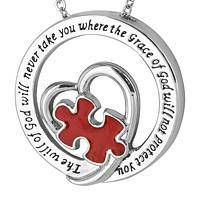 God's Grace - Puzzle Piece & Heart Hoop Autism Awareness Necklace