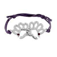 Double Dedication - Paw Print Metal, Rhinestone And Nylon Cord Bracelet