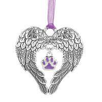 Protective Wings - Angel Wing Ornament With Purple Paw Center