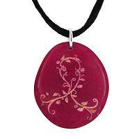 Swirling Wishes - Pendant Necklace Featuring Pink Ribbon Swirl On Tagua