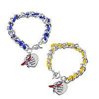 Marine Mother's Pride - Charm Bracelet With Patriotic Ribbon and Marine Mom Charm