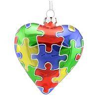 Brilliant Spectrum - Heart-Shaped Glass Ornament With Puzzle Piece Design