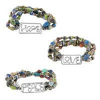 Love, Hope, Peace Bead Bands - Upcycled Magazine Beaded Inspiration Bracelets