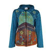 Rustic Fields - Hand Stitched Hooded Jacket Decorated With Floral Images
